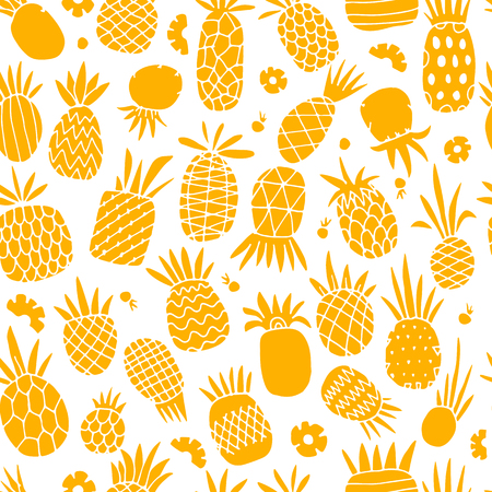 Pineapple set, sketch for your design Zdjęcie Seryjne - 87784113
