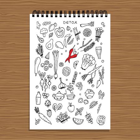 Green vegetable set, detox. Sketch for your design