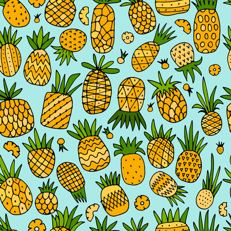 Pineapple set, sketch for your design Фото со стока - 87784110
