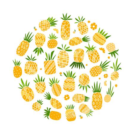 Pineapple set, sketch for your design Фото со стока - 87784119