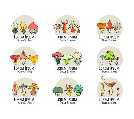 Het glimlachen van paddestoeleninzameling, schets voor uw ontwerp