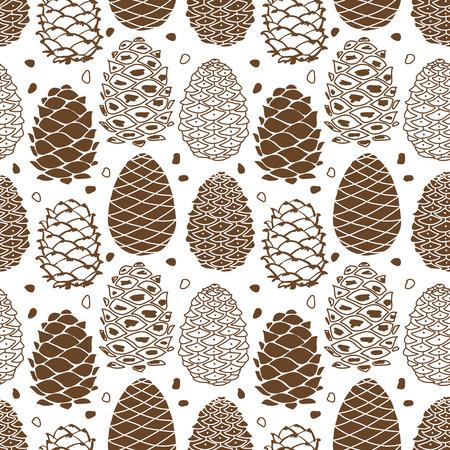 Cedar Cones, nahtlose Muster für Ihr Design Standard-Bild - 87784273