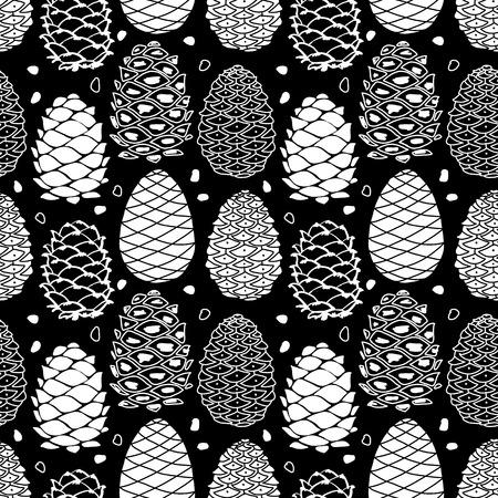 Cedar Cones, nahtlose Muster für Ihr Design Standard-Bild - 87784277