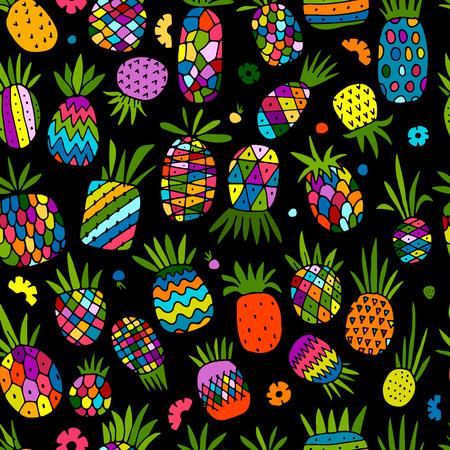 Pineapple set, sketch for your design. Vector illustration Ilustração