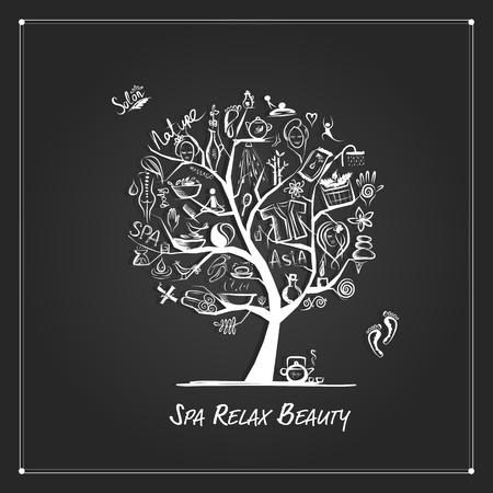Massage- en spa-concept, kunstboom voor uw ontwerp. Vector illustratie