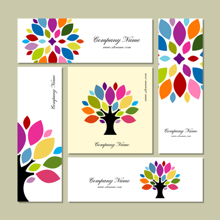 Business cards collection, art tree design.