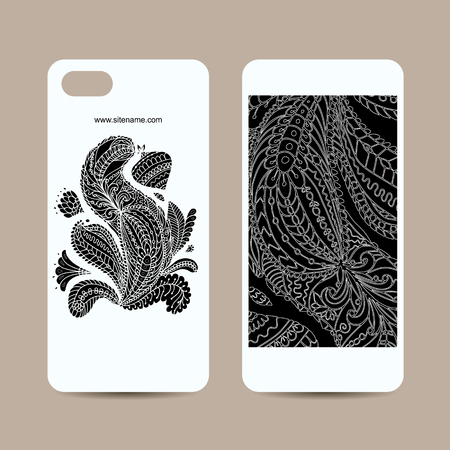 Mobile phone cover design, floral mandala. Vector illustration Ilustração