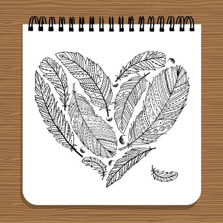 Notebook design, feather heart