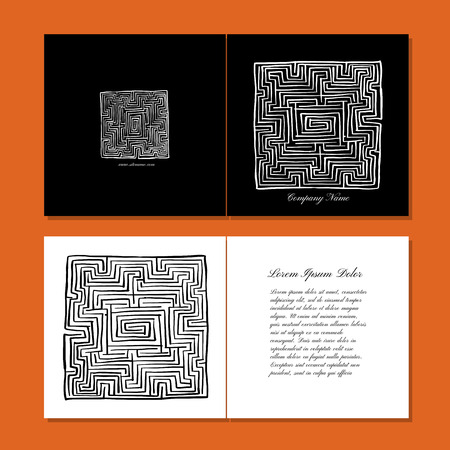 Greeting cards design, labyrinth square