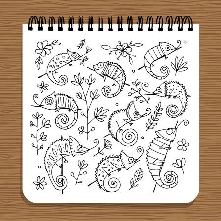 Notebook ontwerp, kameleon set Stockfoto - 88847697