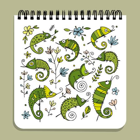 Notebook ontwerp, kameleon set