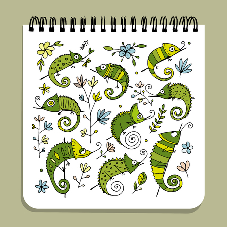Notebook design, chameleon set