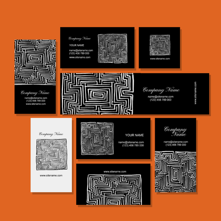 Business cards design, labyrinth square