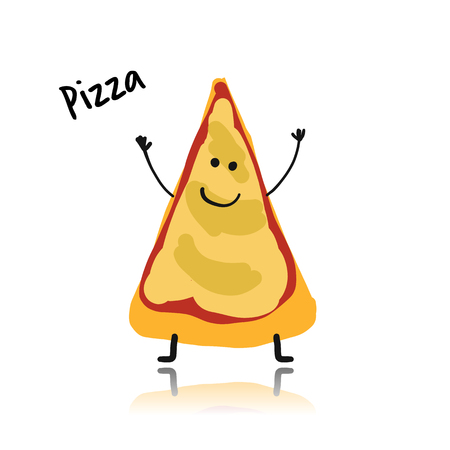 Pizza slice cartoon character.