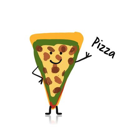 Pizza slice cartoon character.