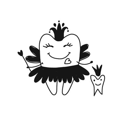 Fada do dente, esboço para o seu design Foto de archivo - 89041514