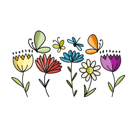 Fiori e farfalle, schizzo per il vostro disegno
