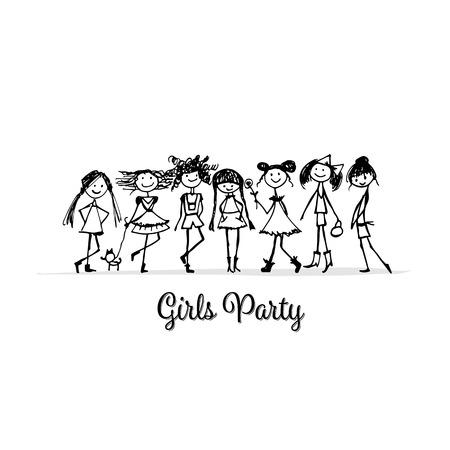 女の子パーティ、あなたの設計のためのスケッチ