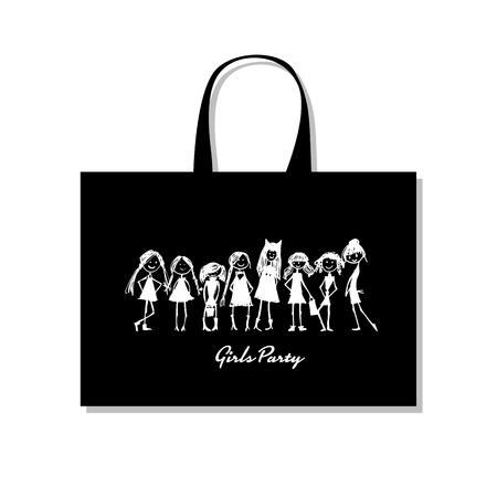 買い物袋の女の子、あなたの設計のためのスケッチ