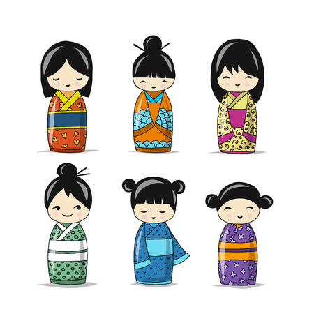 Colección de muñecas japonesas, boceto para su diseño Foto de archivo - 89041515