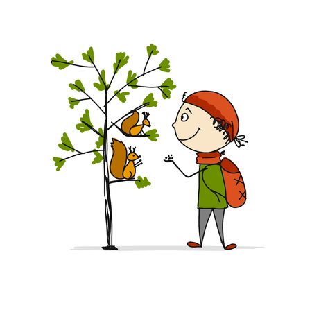 Boy fed squirrels, sketch for your design
