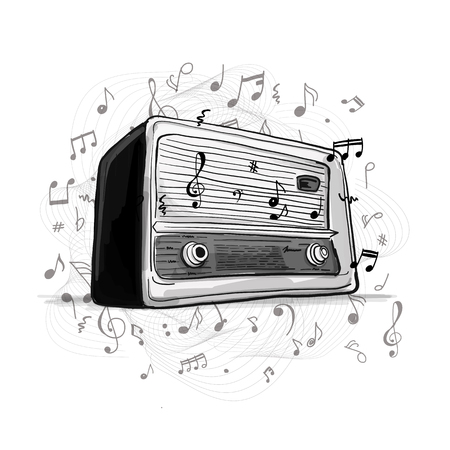 Retro radio, sketch for your design Reklamní fotografie - 89041530