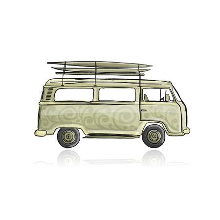 サーフボード付きレトロバス、あなたのデザインのためのスケッチ  イラスト・ベクター素材