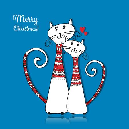 居心地の良いセーターで猫のカップル。クリスマス カードのデザイン