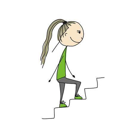 Fille monte les escaliers, esquisse pour votre conception Banque d'images - 89208212