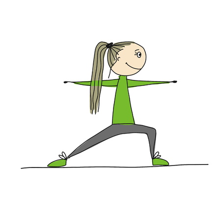 Girl doing sport exercises, sketch for your design