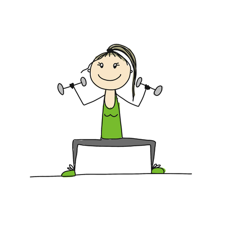 Girl doing sport exercises, sketch for your design