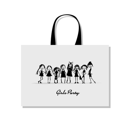Shopping bag with girls, sketch for your design Stock Vector - 89222946