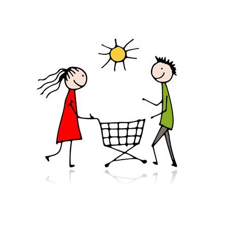 Couple with shopping trolley, sketch for your design Vectores