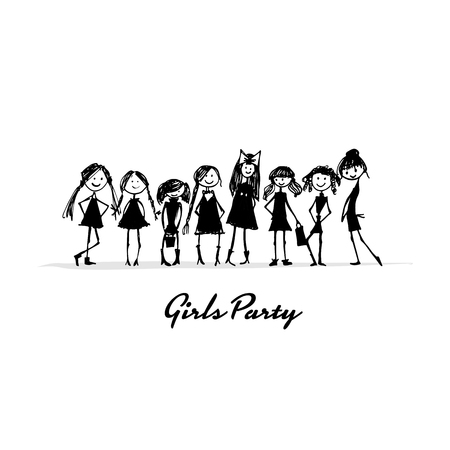 Girls party, sketch for your design