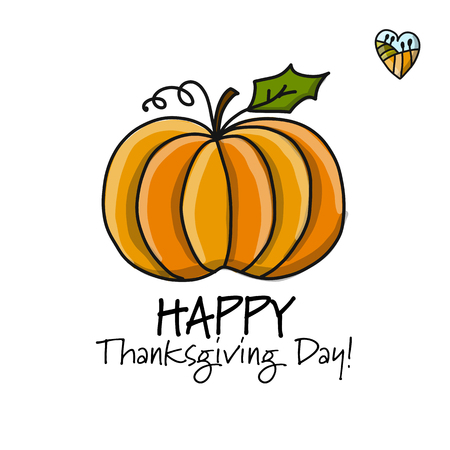 Thanksgiving day card with pumpkin design.