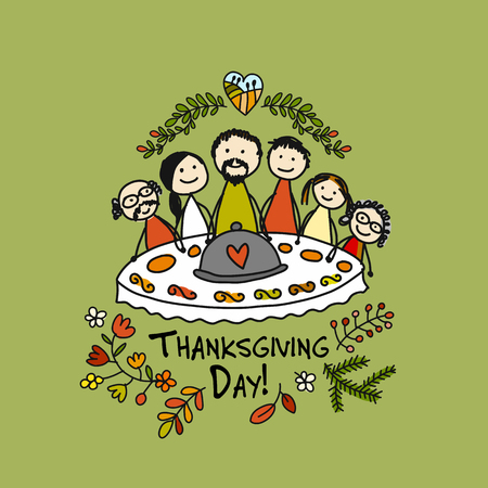 Thanksgiving day greeting card template design.
