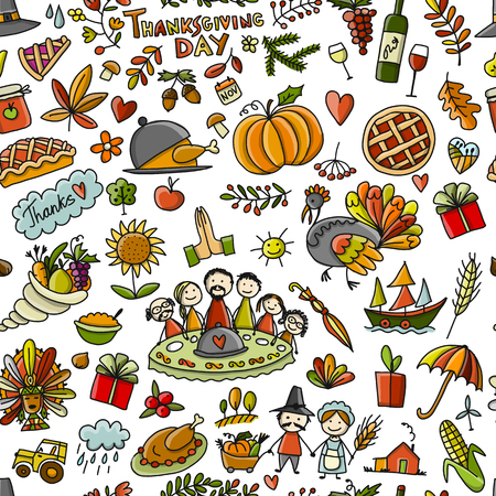 Thanksgiving day, seamless pattern for your design.