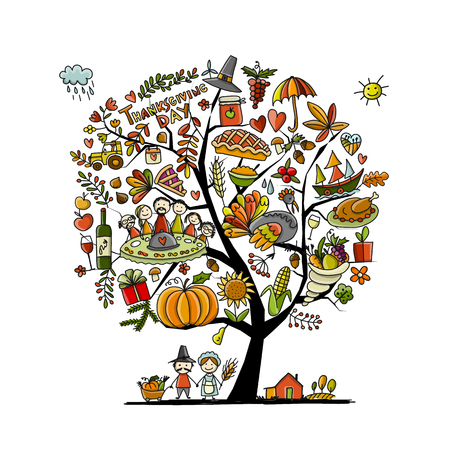 Thanksgiving day, art tree for your design