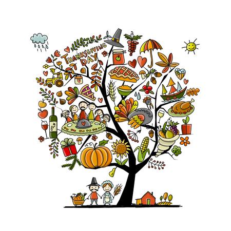 Thanksgiving day, kunstboom voor jouw ontwerp Stock Illustratie
