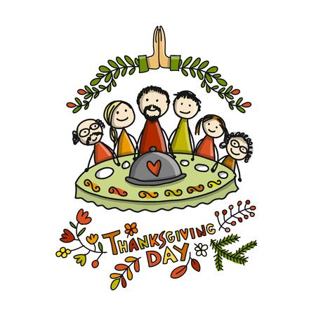 Día de Acción de Gracias, la familia juntos cena. Boceto para su diseño Foto de archivo - 89502442