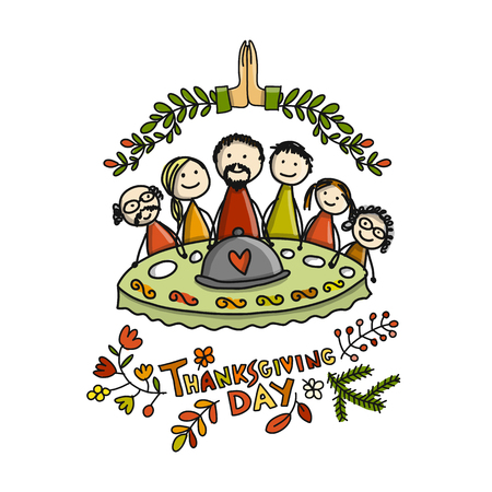 Erntedankfest, Familie zusammen zu Abend essen. Skizze für Ihr Design Standard-Bild - 89502442