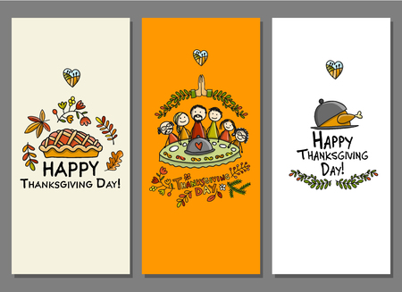 Thanksgiving day, art cards for your design. Illustration