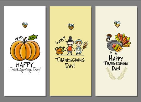 Thanksgiving day, kunstkaarten voor jouw ontwerp Stock Illustratie