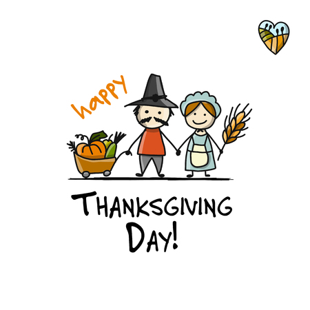 Thanksgiving day, fermers with harvest, sketch for your design Illustration