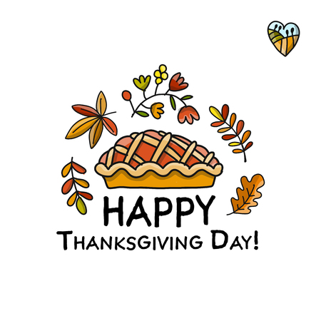 Thanksgiving day, pie sketch for your design