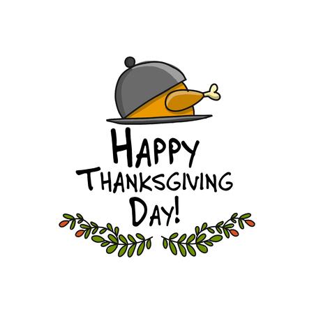 Cena del Ringraziamento con la Turchia, schizzo per il vostro disegno Archivio Fotografico - 89502448