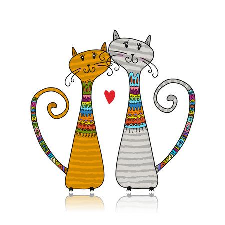 Kilka kotów w przytulnych swetrach, szkic do projektowania