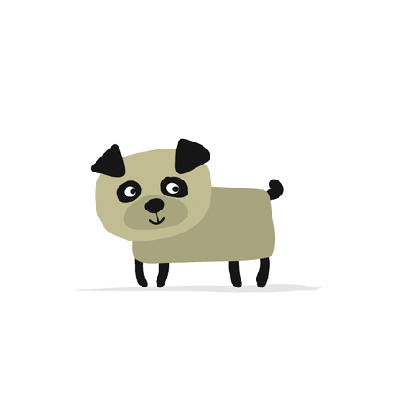 Cute pug dog sketch design.