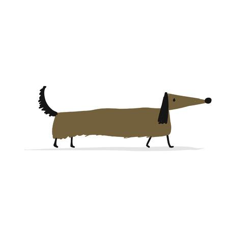 Schattig teckel hond schets ontwerp.