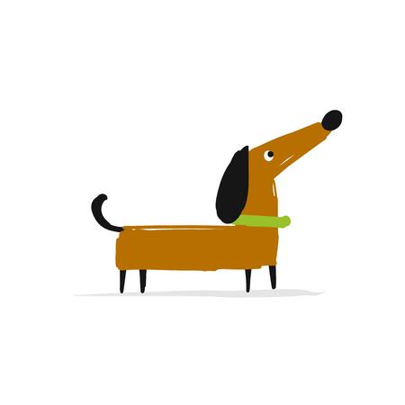 Cute dachshund dog, sketch for your design